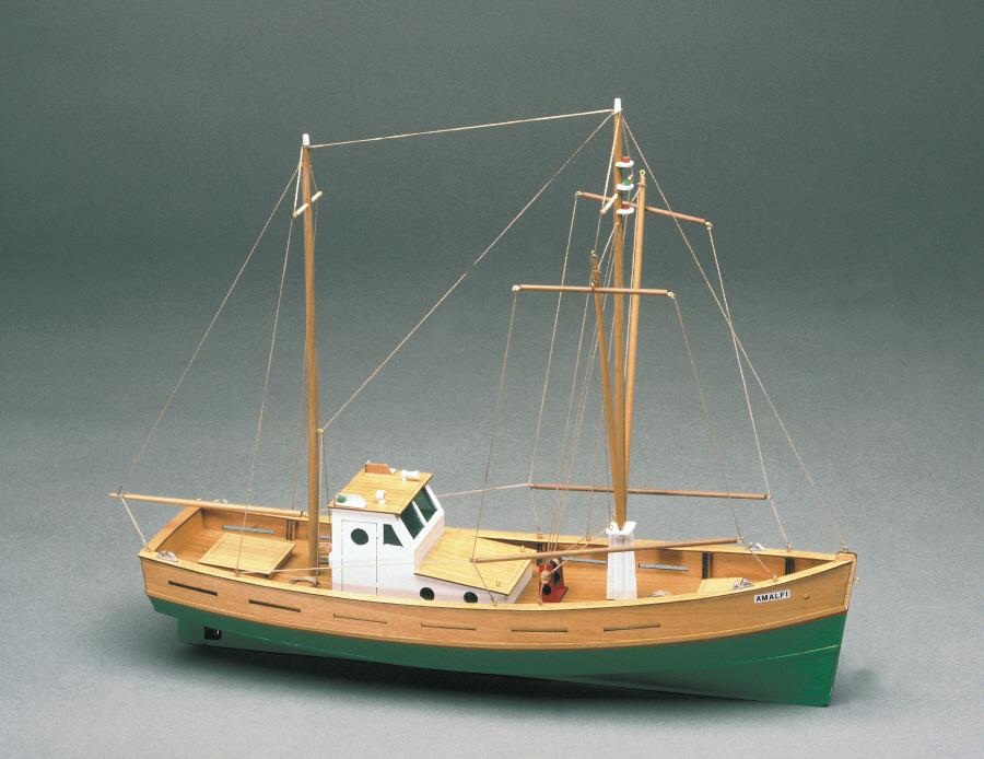 Mantua amalfi fishing boat 1 35 scale wood ship kit ebay for Ebay fishing boats