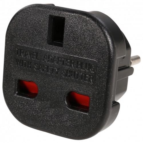 AC Mains Travel Adaptor Plug - UK 3 Pin to EU 2 Pin Type
