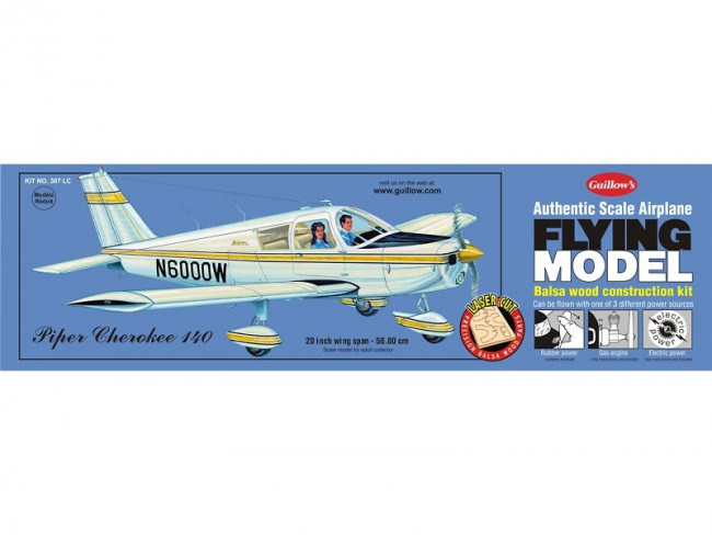 Piper Cherokee 140 Flying Model Balsa Aircraft Kit 508mm Wingspan from Guillow's