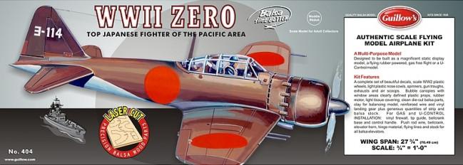 Mitsubishi Zero Flying Model Balsa Aircraft Kit 705mm Wingspan from Guillow's