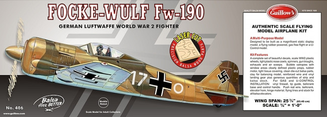 Focke-Wulf Fw-190 Flying Model Balsa Aircraft Kit 654mm Wingspan from Guillow's