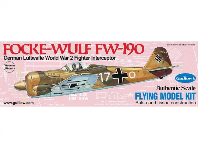 Focke-Wulf FW 190 419mm Wingspan Flying Model Balsa Aircraft Kit from Guillow's