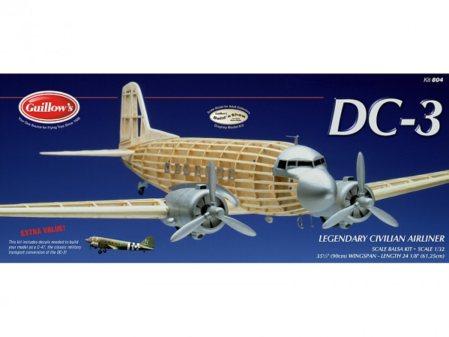 Douglas DC-3 Display Model Balsa Aircraft Kit 900mm Wingspan from Guillow's