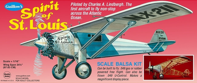 Spirit of St. Louis Large Model 1:16 Guillow's Balsa Aircraft Kit 876mm Wingspan