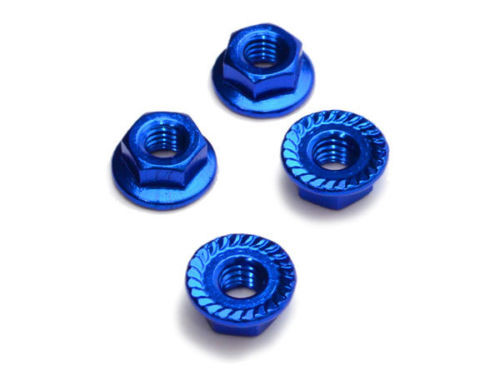 Fastrax Blue Anodised M4 Hexagonal Serrated Aluminium Lock Nuts (4pcs) FTM4BS