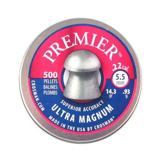 Crosman Premier Heavy 14.3gr Ultra Magnum Domed .22 Pellets Qty 500