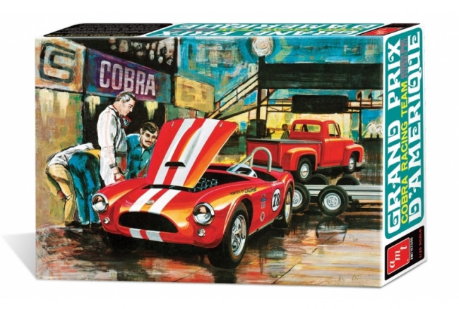 1953 Ford Racing Team Shelby Cobra with Ford Pickup & Trailer 1:25 AMT Plastic Kit
