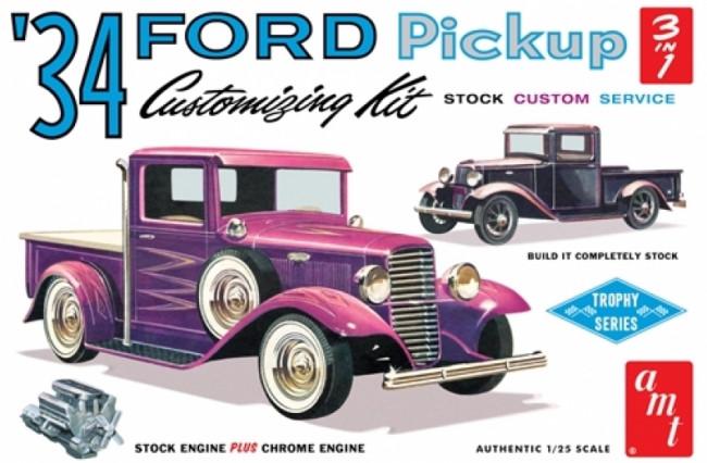AMT 1934 Ford Pickup Truck Stock - Service - Custom 1:25 Car Plastic Kit