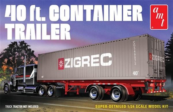 AMT 1:24 40ft Semi Container Trailer Plastic Kit Model For Trucks