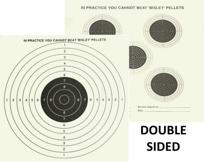 """Bisley 17cm (6.75"""") Grade 1 Double Sided 5 & 1 Shooting Targets - 100"""