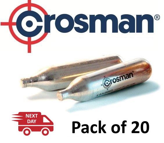 Crosman 12g Co2 Powerlets Cartridges Capsules for Gas Air Rifle, Pistol, Gun - Pack 20