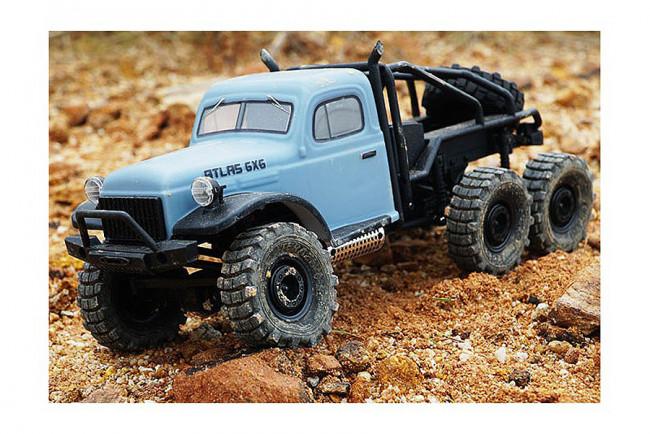 RocHobby 1/18 Atlas 6x6 RTR RC Rock Crawler Truck - Blue