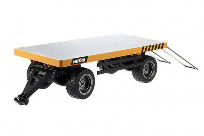 HuiNa Diecast Alloy Metal Frame Flatbed Trailer with Loading Ramps