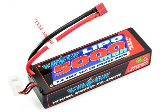 Voltz 5000mAh 2S 7.4v 50C Hard Case LiPo RC Car Battery w/Deans Connector Plug