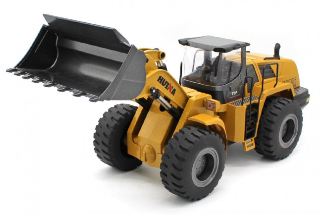 Large 1/14th Scale RC Die-Cast Metal Wheel Loader Bulldozer - Sound & Lights
