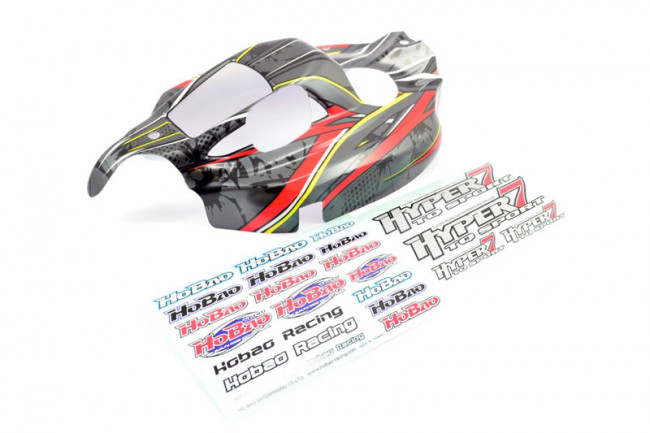 Hobao Hyper 7 TQ Sport New Grey Black Printed Body Shell and Decals