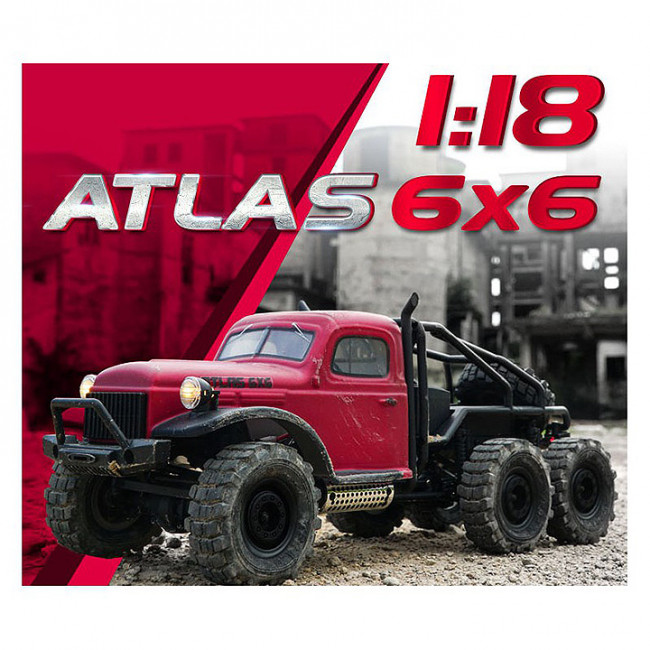 RocHobby 1/18 Atlas 6x6 RTR RC Rock Crawler Truck - Red