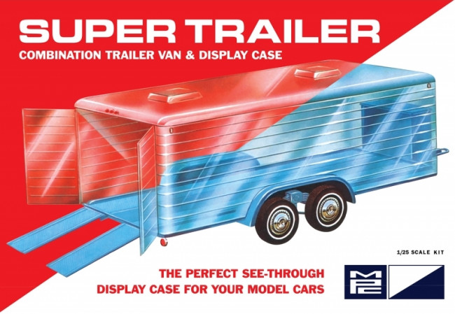"Super ""Clear Display Case"" Car Trailer for 1:25 Scale Models MPC Plastic Kit"