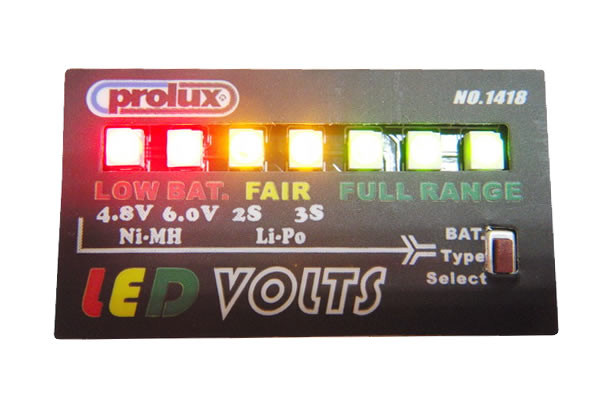 RC Battery Voltage Monitor Checker 7 LEDs 2-3S LiPo & 4.8-6V NiMh