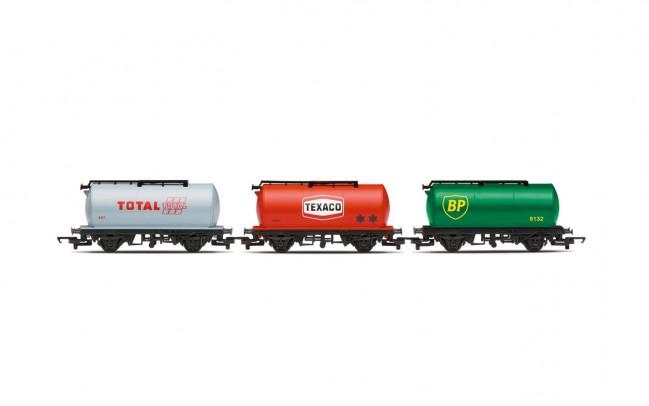 Fuel Tanker Triple Pack BP, Texaco, Total - Hornby Wagon Railroad 00 Gauge