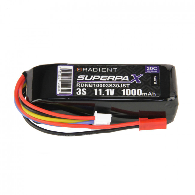 Radient 3S 1000mAh 11.1V 30C LiPo Battery w/ JST Connector Plug