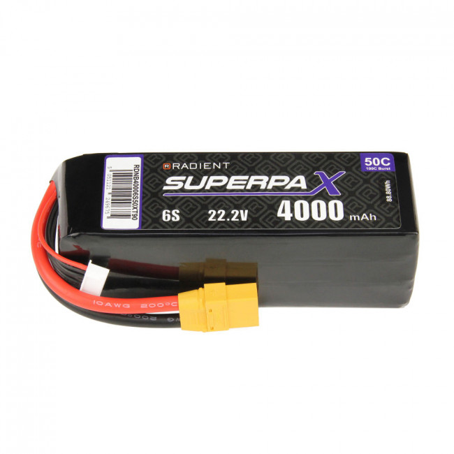 Radient 6S 4000mAh 22.2V 50C LiPo Battery w/ XT90 Connector Plug