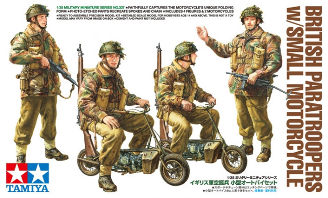 Tamiya WWII British Paratroopers & Welbike Motorcycle Set 1:35 | 35337 Plastic Model Military Kit