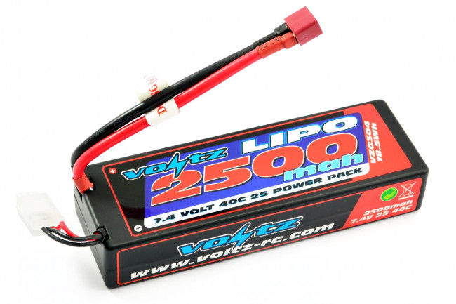 Voltz 2500mAh 2S 7.4v 40C Hard Case LiPo Stick Battery for RC Electric Cars