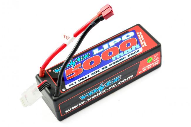 Voltz 5000mAh 3S 11.1V 50C Hard Case LiPo RC Car Battery w/XT90 Connector Plug