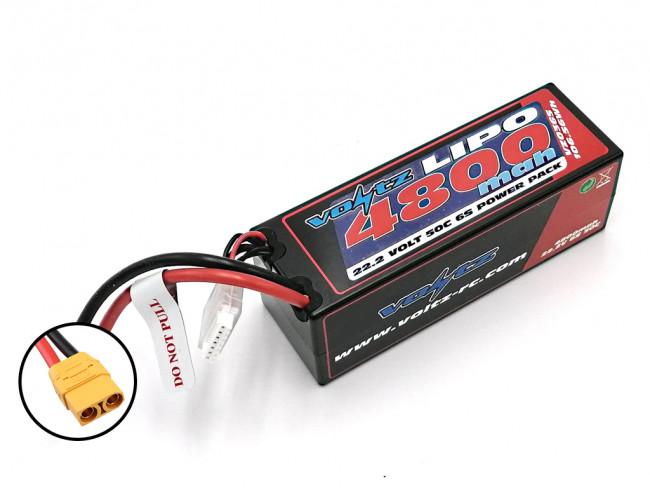 Voltz 4800mAh 6S 22.2V 50C Hard Case LiPo RC Car Battery w/XT90 Connector Plug