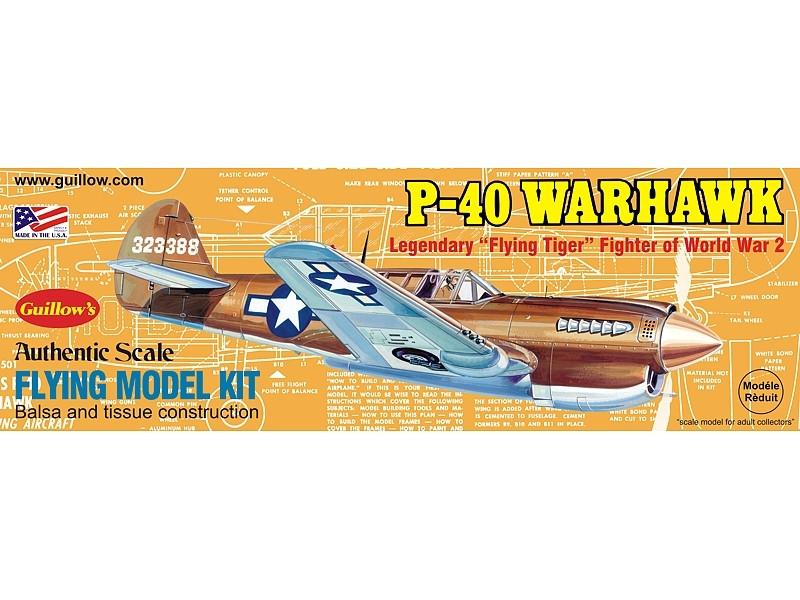 P-40 Warhawk 419mm Wingspan Flying Model Balsa Aircraft Kit from Guillow's