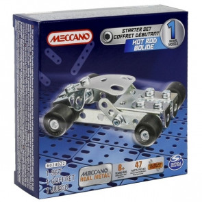 Meccano Hot Rod Car Real Metal 1 Model Starter Set with 47 Parts and Tools