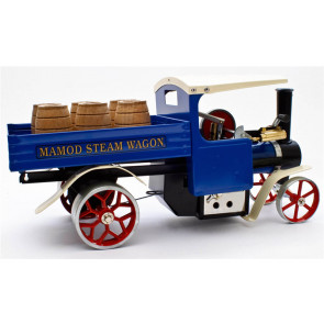 Mamod SW1 Blue Working Live Steam Wagon with Barrels, Ready To Run - Popular Choice