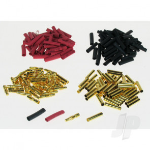 JP 4mm Gold Connector Bulk (50 Pairs + Shrink) for RC Models