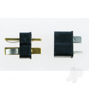 JP Mini T-Style Deans HTC Black Connector (Pair) for RC Models