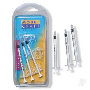 3x 1ml Disposable Syringes POL1001/3 Hobby Tools - Model Craft Collection