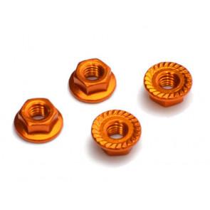 Fastrax Gold Anodised M4 Hexagonal Serrated Aluminium Lock Nuts (4pcs) FTM4GS