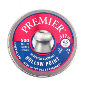 Crosman Premier Hollow Point 7.9gr (.51g) .177 High Quality Pellets Qty 500