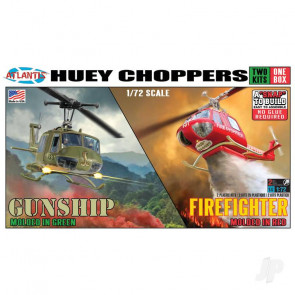 Atlantis Models 1:72 Bell UH-1 Huey Helicopter (2 Pack – Army/Fire) Plastic Kit