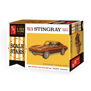 1963 Corvette Stingray Hardtop - Highly Detailed 1:32 Scale AMT Plastic Kit