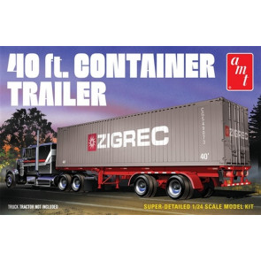 AMT 1:24 40ft Semi Container Trailer Plastic Kit Model For Trucks