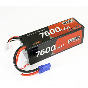 Corally 7600mAh 4S 14.8v 100C Hard Case RC Car LiPo Battery w/EC5 Connector