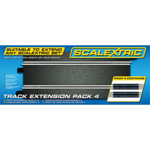 Scalextric C8526 Track Extension Pack 4 - Straight (x4) 1:32 - Digital Compatible