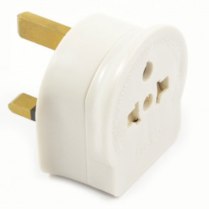 AC Mains Travel Adaptor Plug -  EU 2 Pin to UK 3 Pin