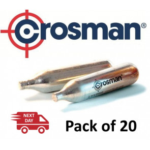 Crosman 12g Co2 Powerlets Cartridges Capsules for Gas Air Rifle, Pistol, Gun - Pack 20