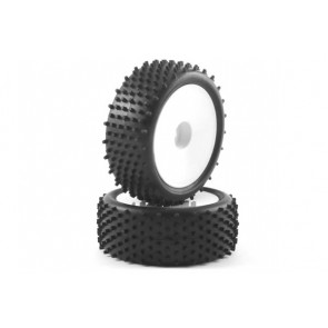 Fastrax 'Stub' 1/10th Buggy Front Tyres Pre-Mounted on Dish Wheels (2) FAST0046