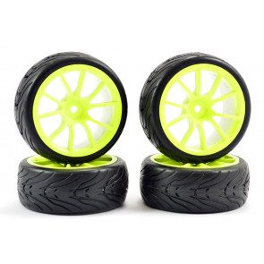 Fastrax 1/10th Street Tread Tyres on Neon Yellow Spoke Wheels Set of 4