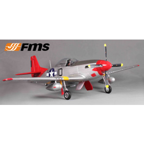 FMS P-51D Mustang V8 1.4m RTF with Retracts, Lights, Flaps - Red Tail no Tx/Rx/Bat
