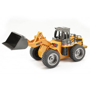 1/18th Scale 6 Channel RC Bulldozer Loader with Metal Bucket & Lights