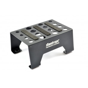 Fastrax Black Anodised Aluminium Car Pit Stand with Magnetic Strips for RC Cars